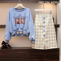 DANCING WINGS Cartoon printed blouse and Keen Length Bodycon Skirt women suits plus size