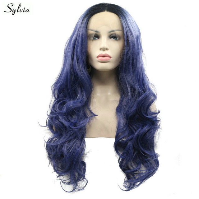 Us 45 99 Sylvia 2 Tone Synthetic Hair Body Wave Lace Front Wigs Long Dark Roots Ombre Navy Blue Heat Resistant Fiber Women S Replacement In
