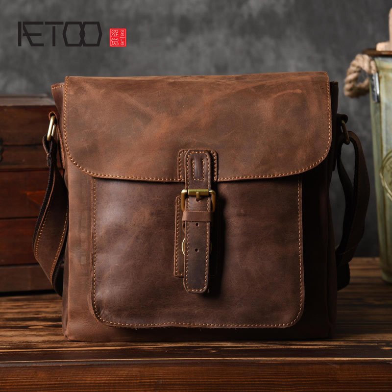 AETOO Europe and the United States handmade leather crazy horse leather men do old postman package aetoo europe and the united states fashion new men s leather briefcase casual business mad horse leather handbags shoulder