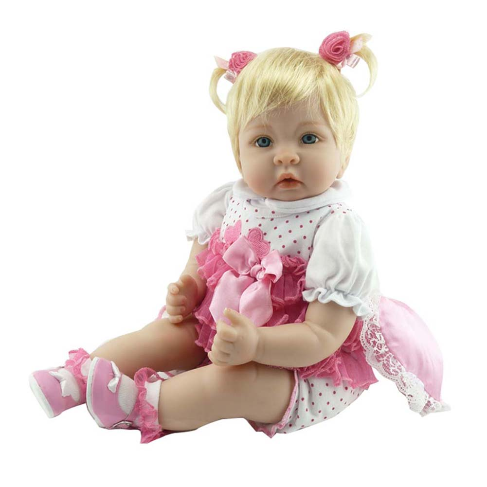 купить NPK 55cm/22inch Baby Reborn Dolls Cute Silicone Jointed Doll Toddler Lifelike Toys Birthday Gifts FJ88 по цене 4752.35 рублей