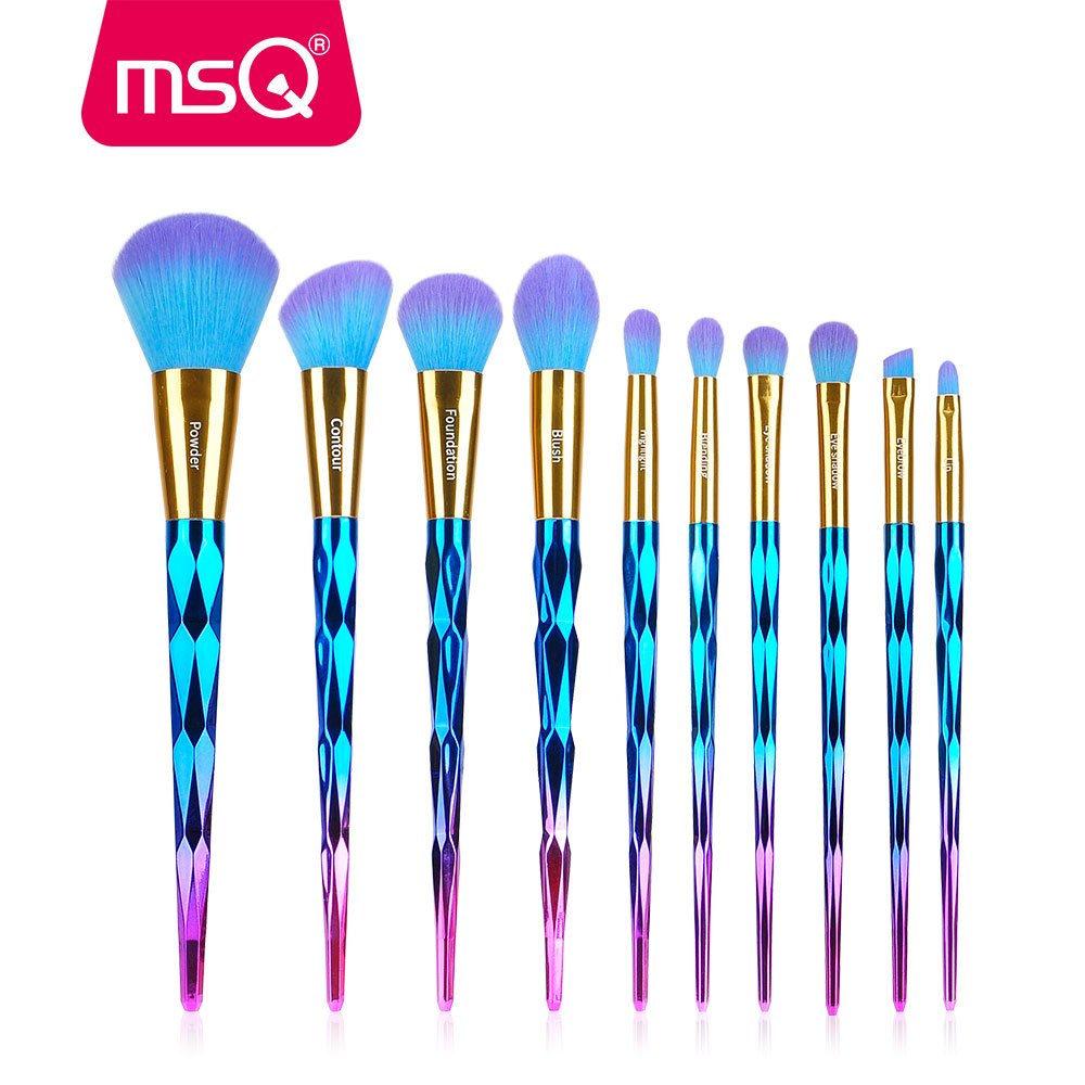 MSQ Makeup Brushes Set 10pcs Diamond Handle Tools Powder Foundation Make Up Brush Kit Duo Color Synthetic Hair Cosmetic Tool black handmade beaded details crew neck sleeveless high waisted dress