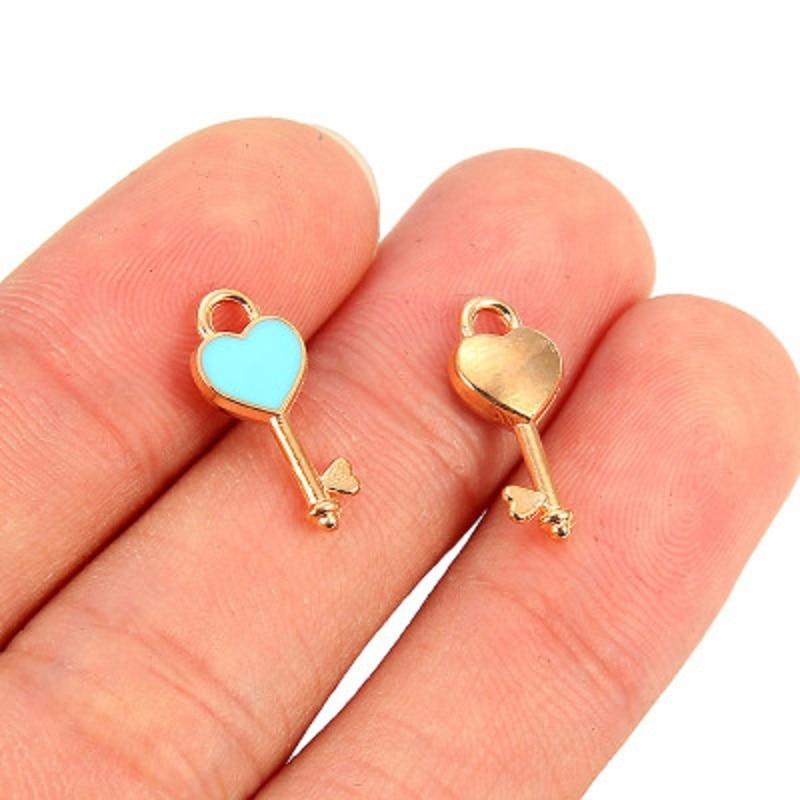 TJP 20pcs Gold Colorful Enamel Drop Oil Love Heart Keys Charms Pendants for Necklaces DIY Handmade Jewelry Making Findings