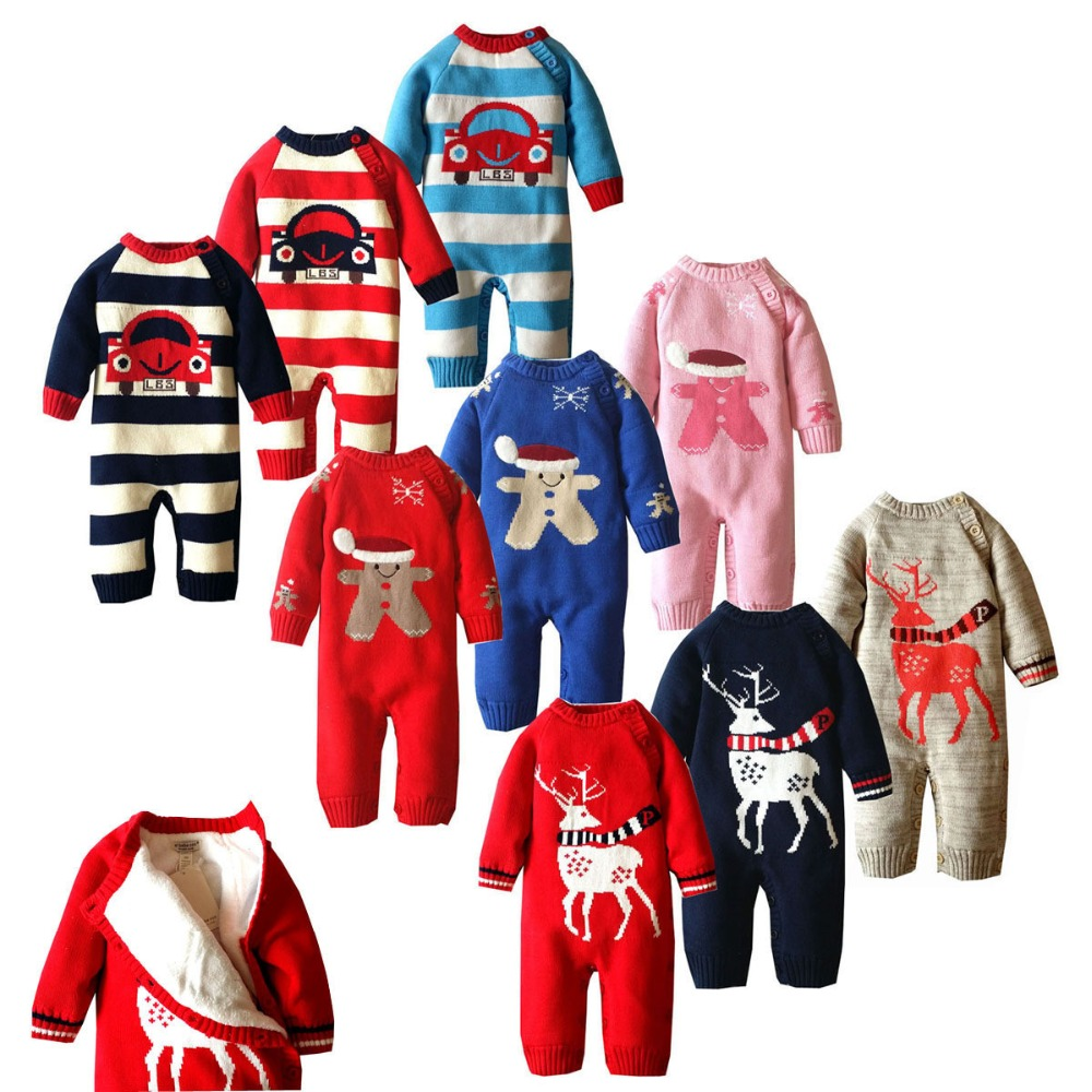 2017 Winter boys girls thicking cartoon car warm wool rompers cute newborn jumpers christmas children climbing sweater 17S907