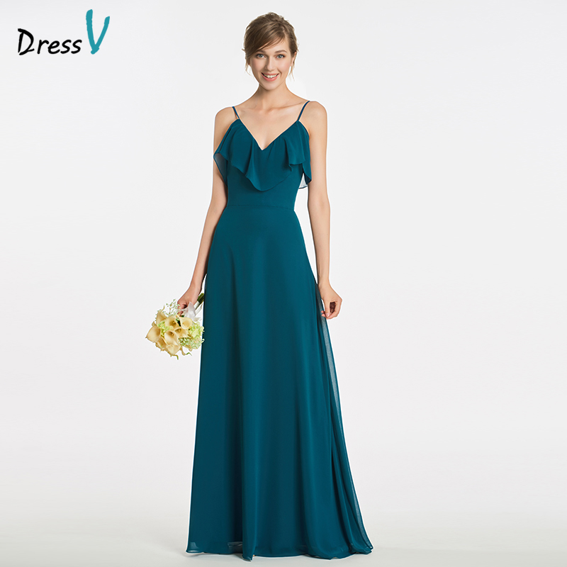 Dressv Long Spaghetti Straps Bridesmaid Dress Sleeveless