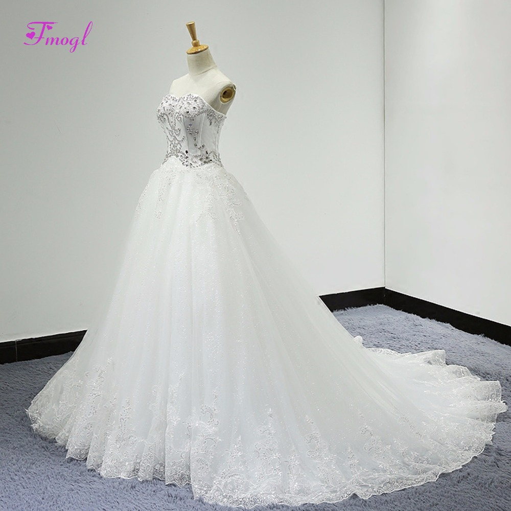 Fmogl Charming Strapless Lace Up Appliques A-Line Wedding Dress 2018 Luxury Beaded Crystal Princess Bridal Gown Vestido de Noiva