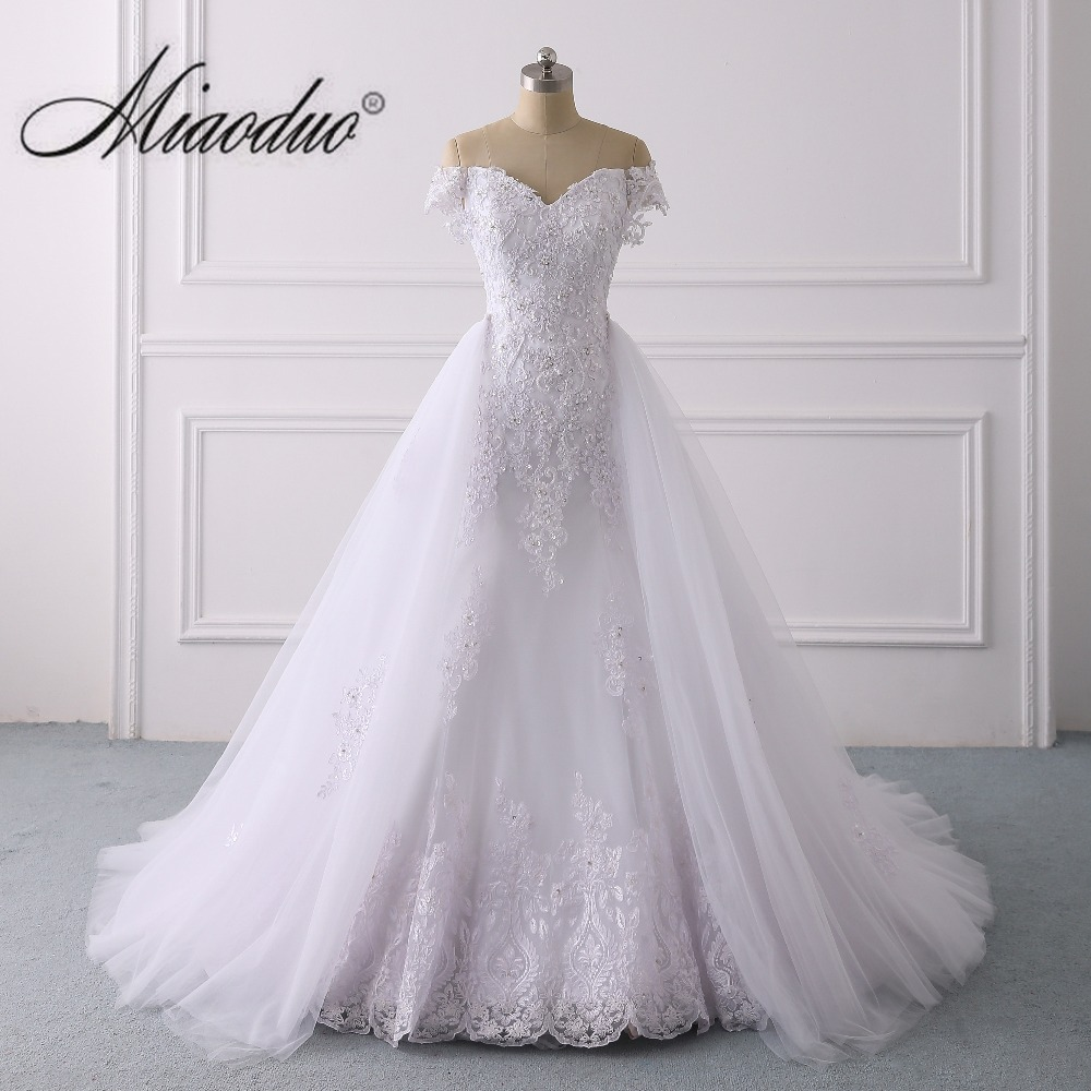 Beaded Wedding Dress With Detachable Train: Detachable Train Wedding Dress White Beaded Lace Applique