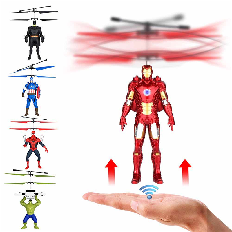 Marvel Flying Super Heroes Series Anti-drop Helicopter Toy Spiderman Batman Iron Man Hulk Captain America Kid Gift Action Figure