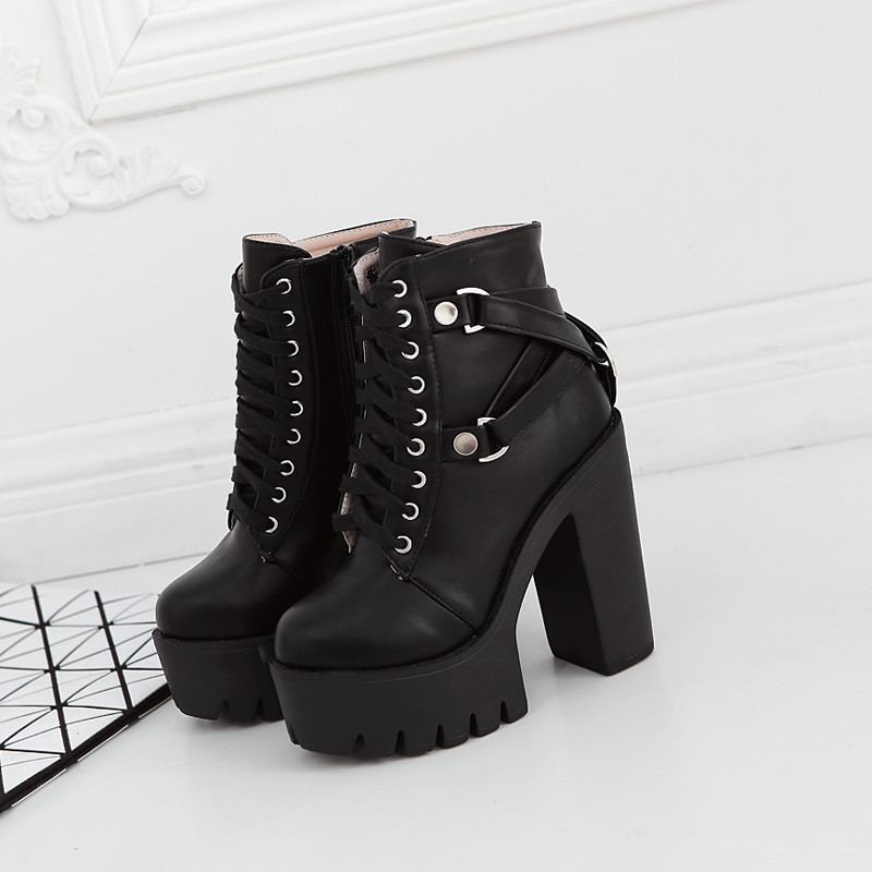 YMECHIC 2018 Block Heel Platform Lace Up Punk Gothic Boots Cross Strap  Chunky Ultra High Heels Ankle Combat Boot Ladies Shoes-in Ankle Boots from  Shoes on ... c03edf0be90d