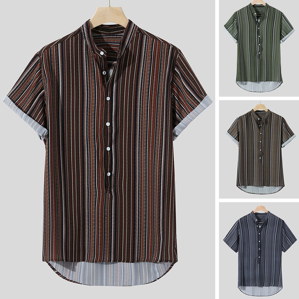 2019 Shirts Mens Summer Striped Buttons Fly Breathable Short Sleeve Loose Casual Henley Shirts Plus Size Herren Freizeithemd(China)