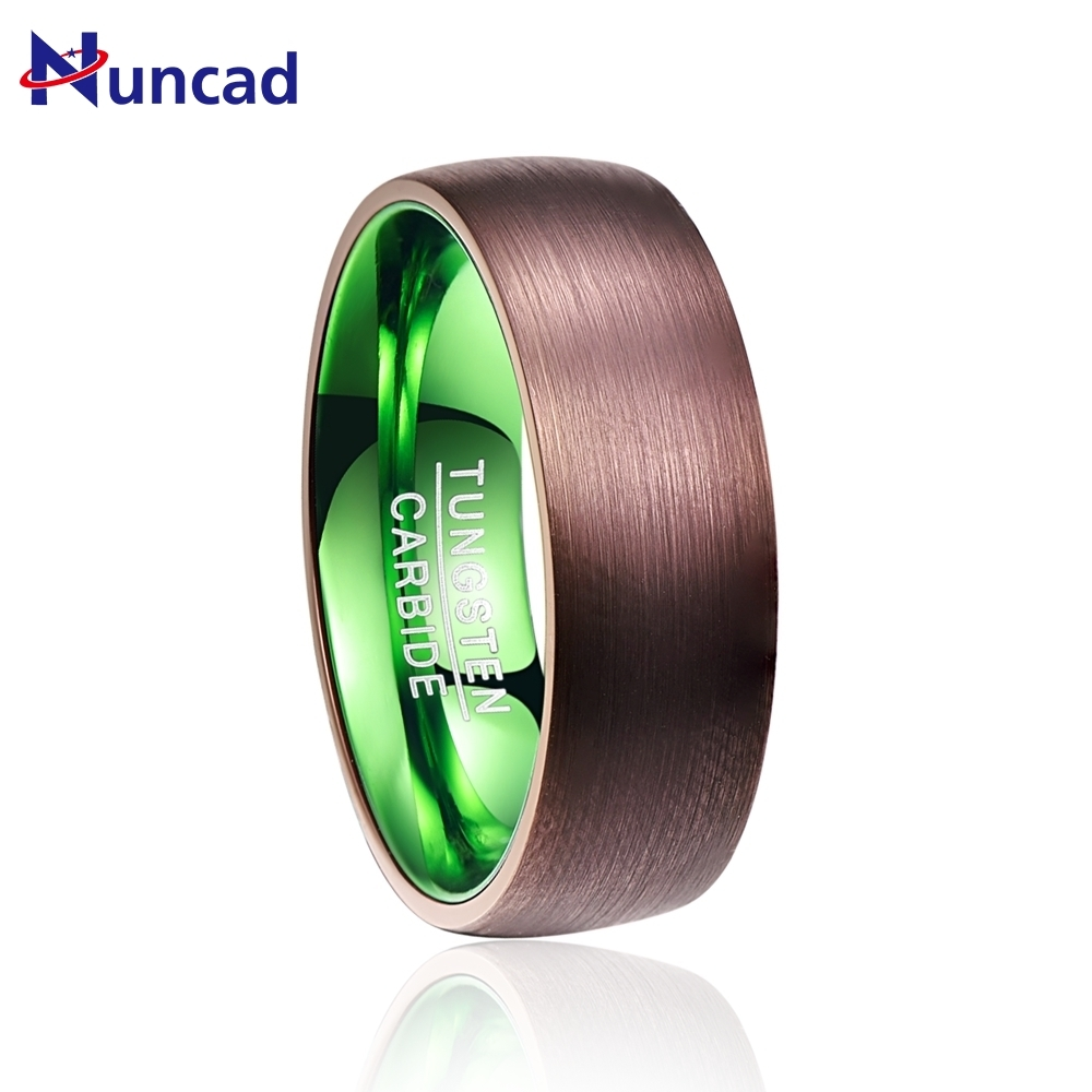 Valentines Day Deals Hot Sale plated brown green dome tungsten carbide ring Fashion Retro Engagement Ring Jewelry for man
