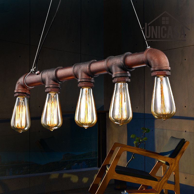 Brown Antique Pendant Lights Water Pipe Iron Lighting Office Hotel Bar Kitchen LED Light Vintage Industrial Pendant Ceiling Lamp glass shade modern pendant lights vintage industrial kitchen island lighting office hotel shop antique led pendant ceiling lamp