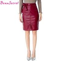 Leather Skirt Women Autumn Winter Fashion Midi Pencil Skirts Womens Faux Leather Faldas Black Red Gray