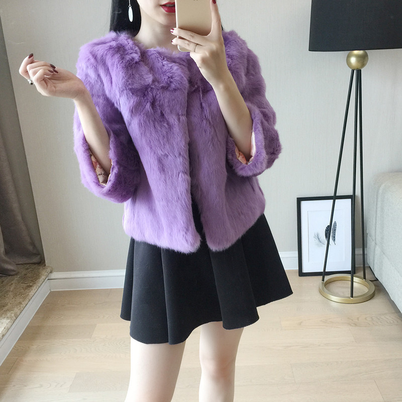 Real Rabbit Fur Women Jacket Korea Slim Fashion Coat Three Quarter Single Breasted Outwear Female Fashion Plus Size Cloth MY0105 шапка с помпоном truespin abc pompom beanie c black