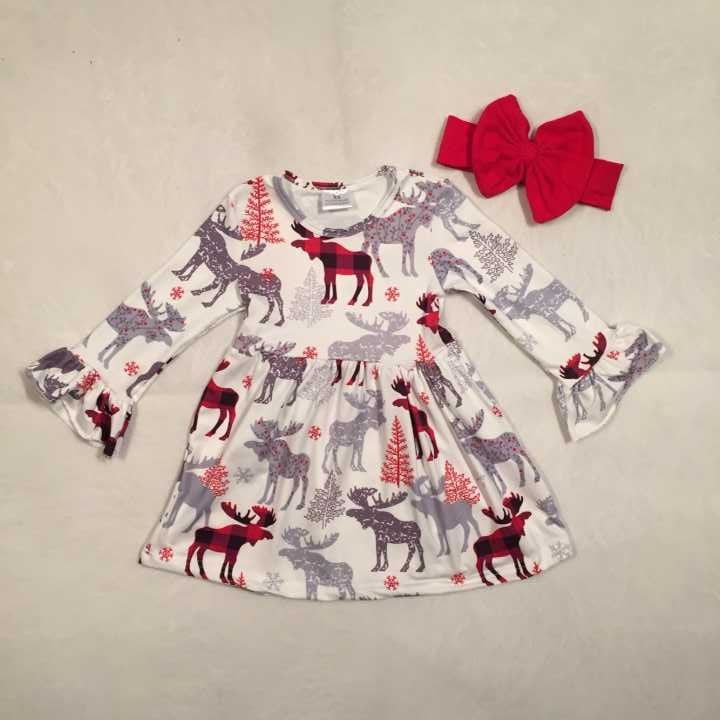 все цены на Christmas tree Fall/winter baby girls cotton moose reindeer dress ruffle children clothes boutique outfits plaid match headwear