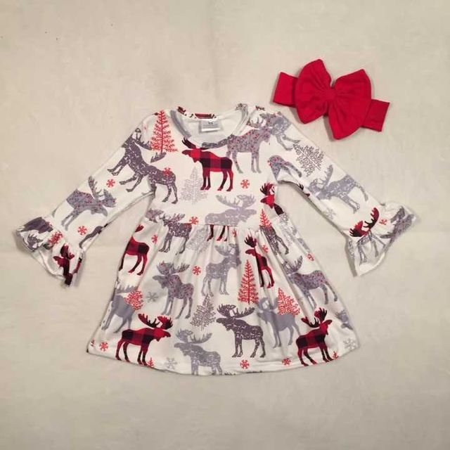 Christmas tree Fall/winter baby girls cotton moose reindeer dress ruffle  children clothes boutique outfits plaid match headwear - Christmas Tree Fall/winter Baby Girls Cotton Moose Reindeer Dress