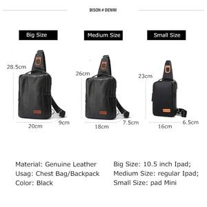 Image 3 - BISON DENIM Chest Bag Genuine Leather Crossbody Bags Men Multifunctional Zipper Shoulder Bag Casual Men Chest Waist Pack N2425