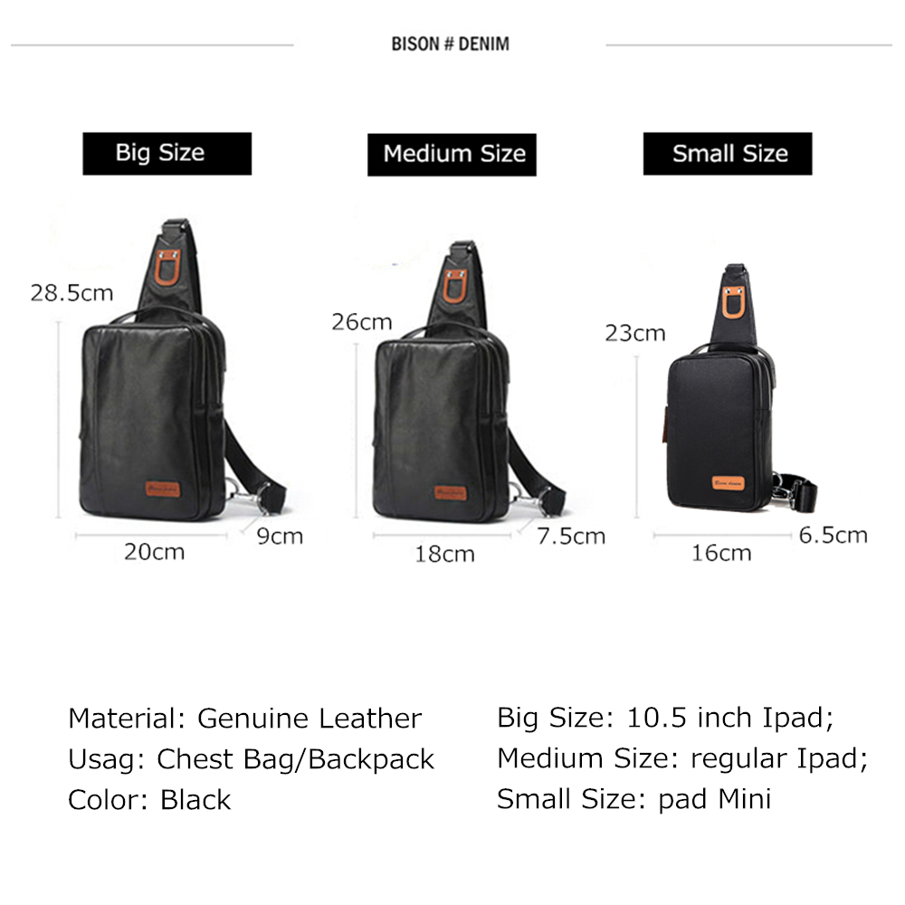 Image 3 - BISON DENIM Small Chest Bag Genuine Leather Ipad ProMens 