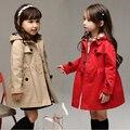 Nuevo 2016 Muchachas de La Manera Trench Coat Cardigan Chaquetas Niños prendas de Vestir Exteriores A Prueba de Viento de Doble Botonadura Niños Cazadora Peacoat para Niñas