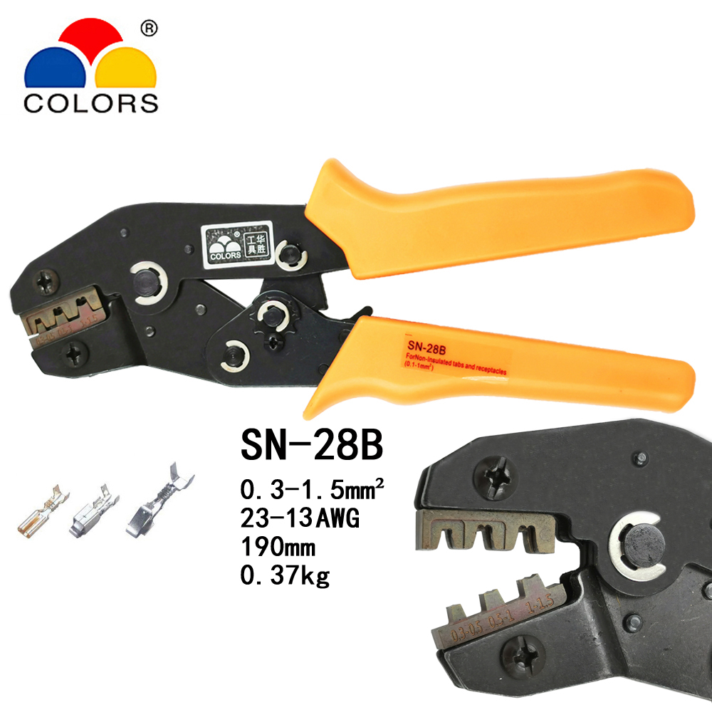 COLORS SN 28B crimping plier 0.25 1.5mm2 23 13AWG for unisuated receptacles TAB 2.8mm terminals european crimping tool|Pliers| |  - title=