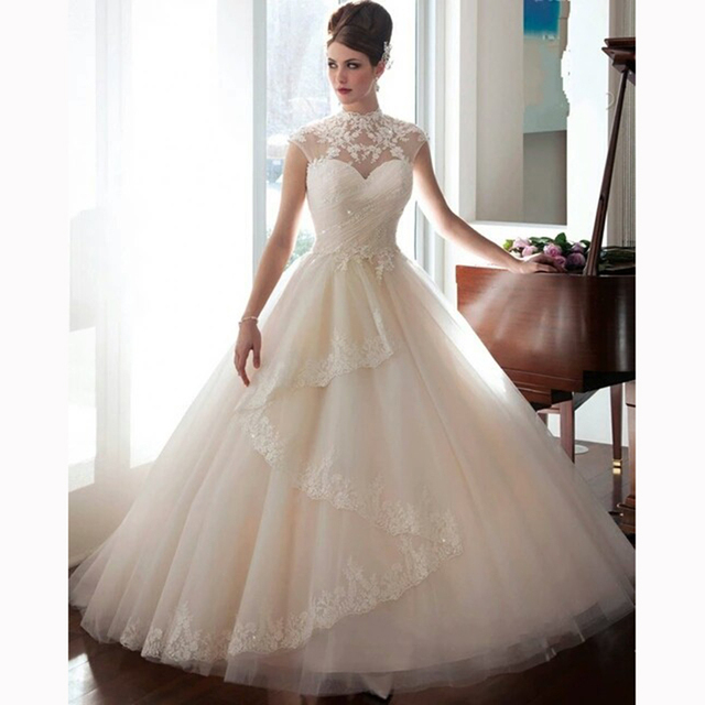 Top Quality White Lace Wedding Dress With Sleeves Plus Size Wedding ...