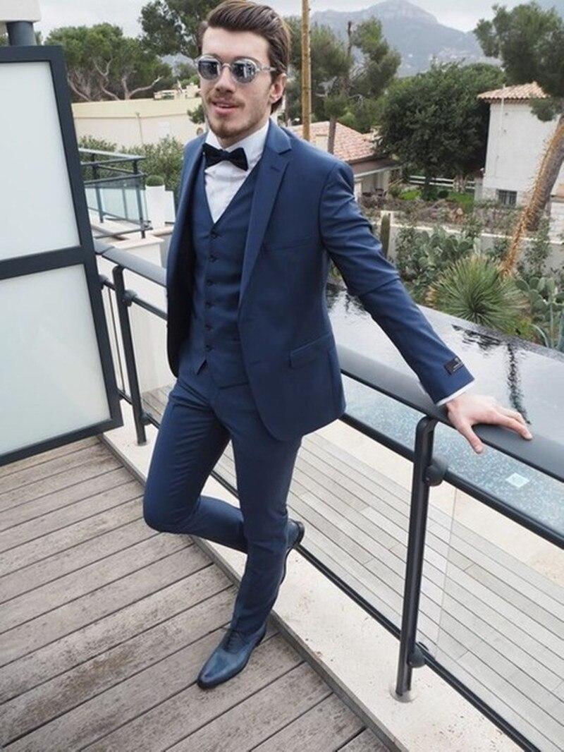 551e129eadc6 2017 Latest Coat Pant Designs Navy Blue Jacket Prom Men Suit Slim Fit Terno  Masculino Tuxedo 3 Piece Blazers Custom Groom Suits