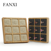 FANXI Solid Wood And Microfiber Jewelry Display Stand Ring Holder With Grey For Showcasing Ring Shopping