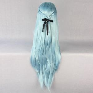 Image 5 - Sword Art Online Sao Asuna Yuuki Yuki Long Blue And Brown Heat Resistant Hair Cosplay Costume Wig + Free Wig Cap