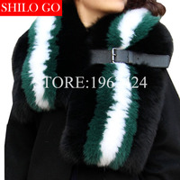 TOP 2019 Winter Fashion Women High quality Luxury Whole Fox Hair Hit The Dark Green Green Black Leather Buckle Fox Collar Shawl