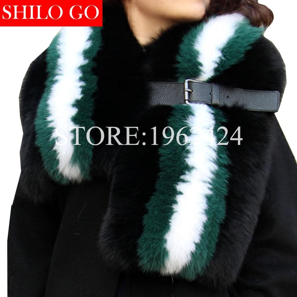 TOP 2020 Winter Fashion Women High-quality Luxury Whole Fox Hair Hit The Dark Green Green Black Leather Buckle Fox Collar Shawl