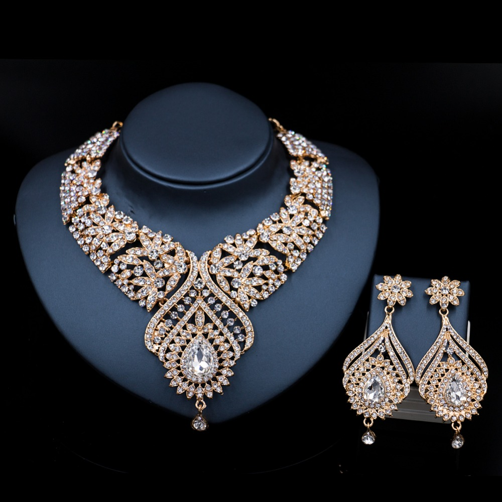 decoration new costume necklace and earrings bridal font b jewelry b font sets india crystal for
