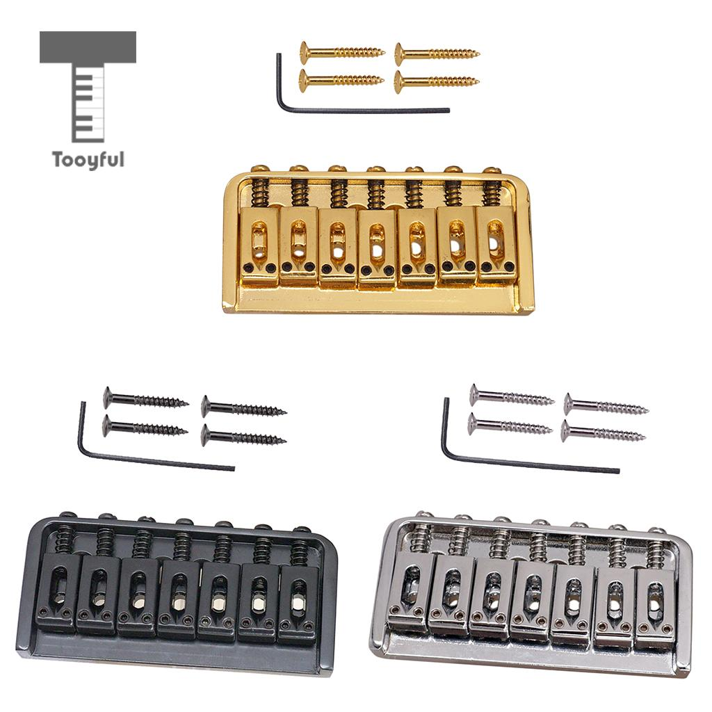 Tooyful Golden Silver Black Guitar Saddle Bridge Fixed for Electric Guitar Accessory black 6 saddle hardtail bridge top load 65mm electric guitar bridge b2c shop
