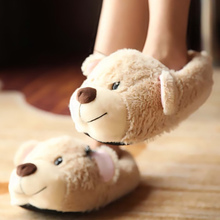 Adult plush slippers funny slipper 2017 winter new synthetic solid corduroy butterfly knot indoor home slippers female shoes