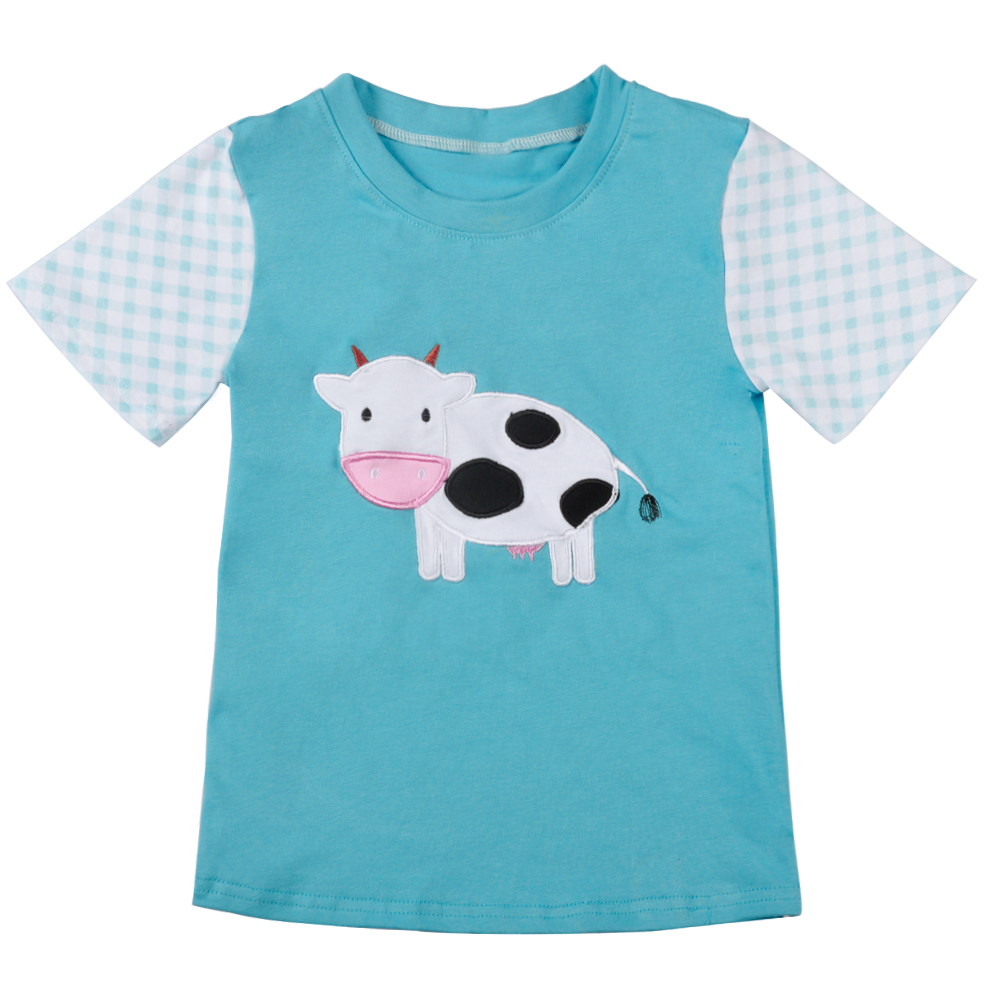 CONICE NINI Summer Style Boys Short Sleeve Raglan Short Sleeve T-shirt Cow Embroidery Pattern Blue Striped Boy Top BSY801-013