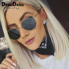 Fashion Sunglasses Women Brand Designer Small Frame Polygon Clear Lens Men Vintage Sun Glasses Hexagon Metal