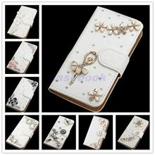 For Huawei P8 lite NEW fashion Crystal Bow Bling Tower 3D Diamond Glitter Wallet Leather Cases Cover For Huawei P8 lite Case
