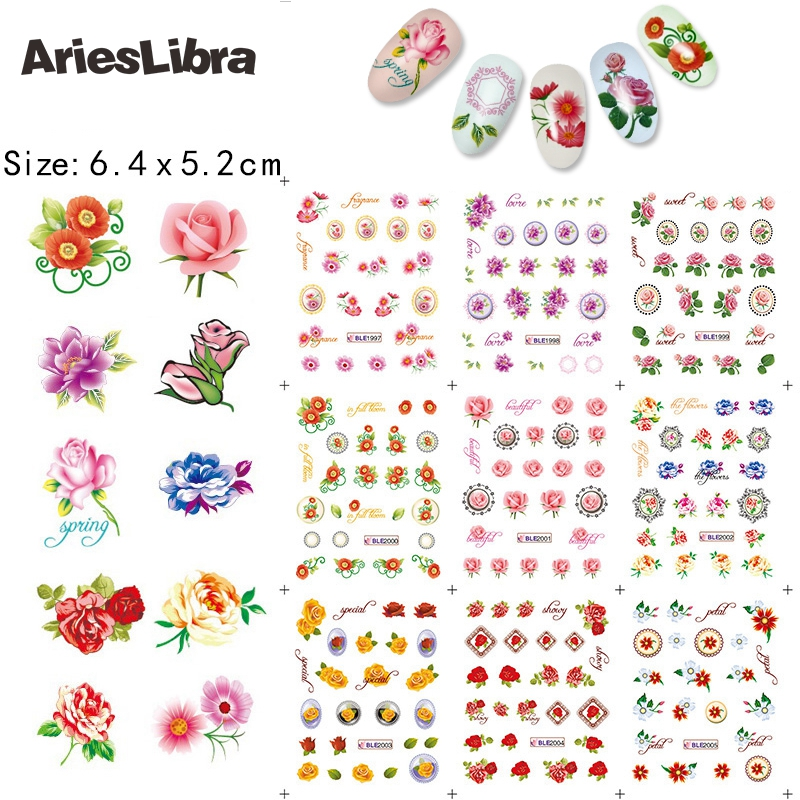 Arieslibra Наклейка различных розы дизайн Вода Наклейка Мода ногтей вода наклейки для ногтей украшения для украшения инструмент