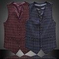 Tamaño grande Clásico de la Vendimia Sin Mangas Formal de Chaqueta de Los Hombres Traje A Cuadros Chaleco Chaleco Más El Tamaño 4XL, 5XL, 6XL, Azul marino, Rojo