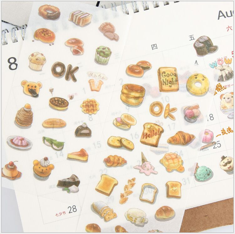 6 Pages/Pack Yummy Dessert Pastry snacks Food Afternoon Tea Decorative Planner Stickers DIY Diary Scrapbook Phone Seal Stickers