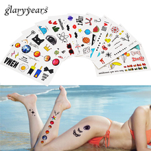 1 Piece Small Pattern Body Art Tattoo Children Cartoon Tumbler Cat Design Temporary Beauty Neck Hand Henna Tattoo Sticker Unisex