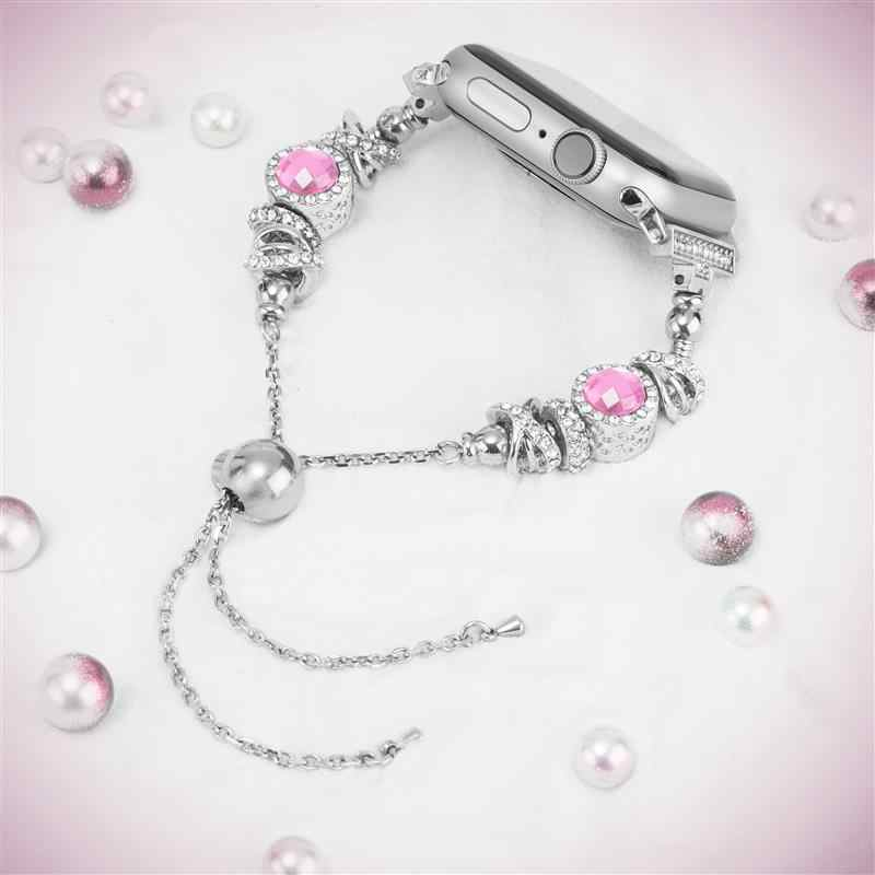Watch Band Women iWatch Handmade Crystal Bling Beads with Rhinestone Bracelet Jewelry Wristbands Strap for Apple Watch 4 3 2 1