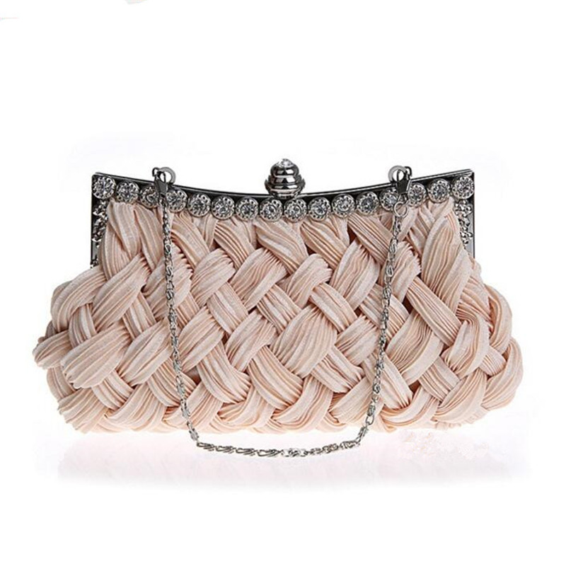 2017 spring Evening bag weave clutch bags woman handbag Silk Elegant Dinner Ladies' Bag , Evening Bag High-grade Handbag  EB003