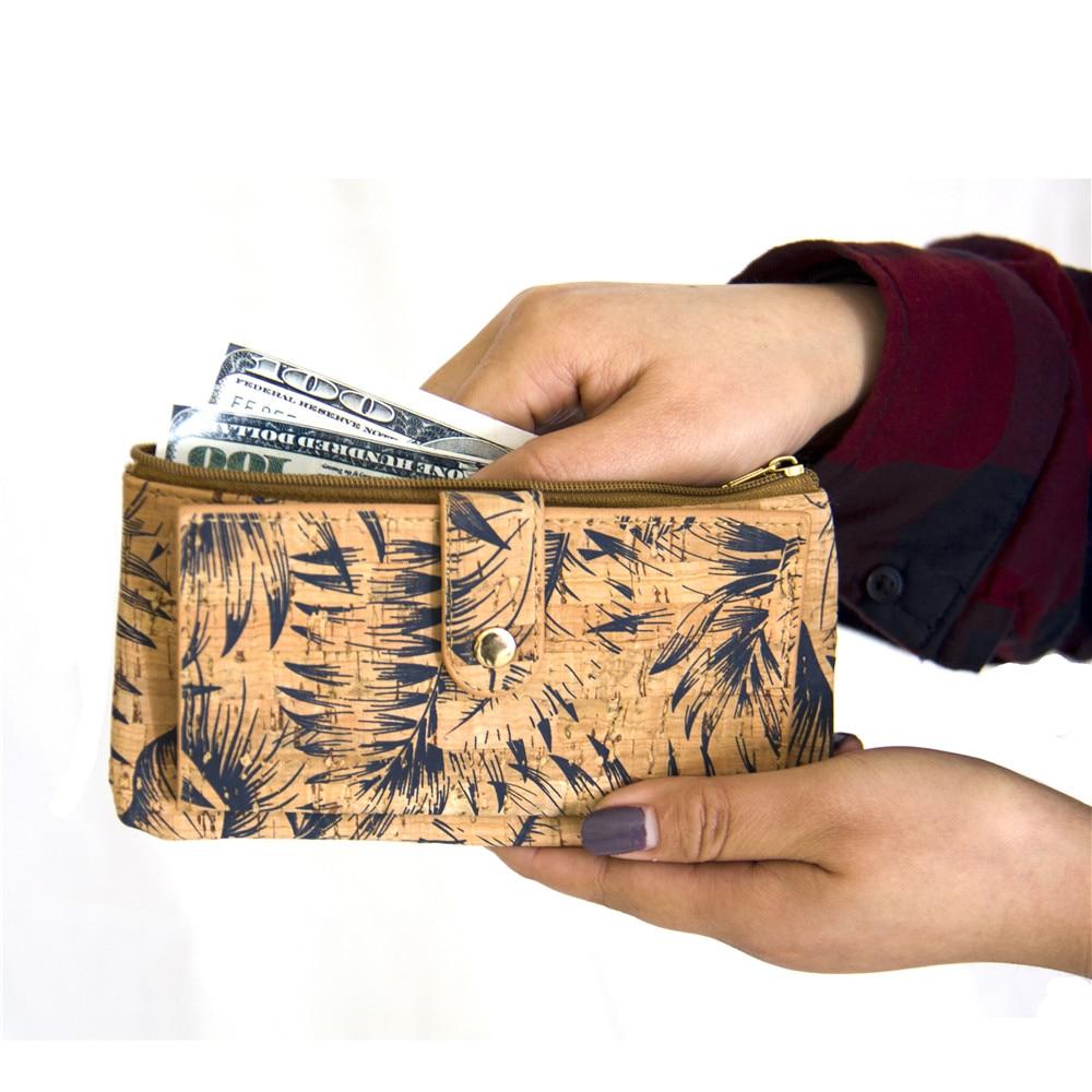 Naturkork plånbok med fjädertryck kvinna vegan plånbok - Plånböcker - Foto 2