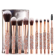 Hot Sale 10pcs/set Gold Diamond Makeup Brushes Set Foundatio