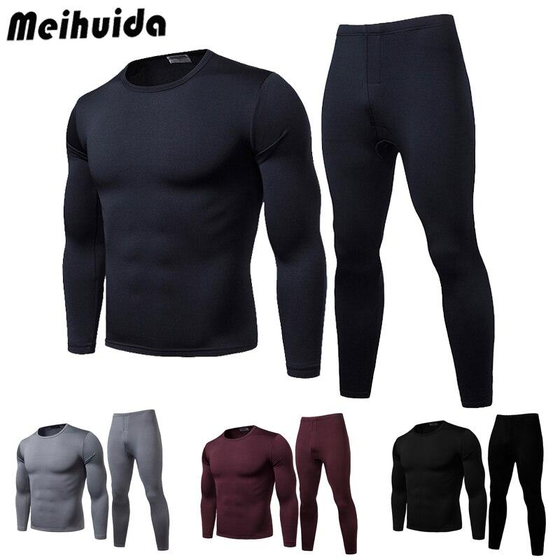 Комплект нижнего белья для мужчин, зимняя Ультрамягкая термобелье с флисовой подкладкой