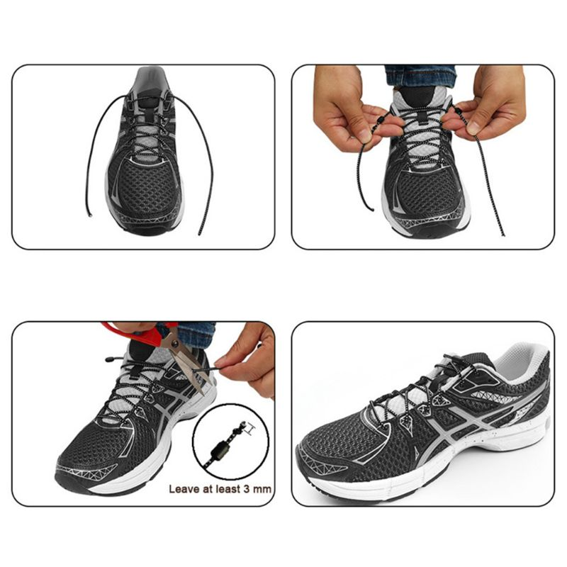 New 2 x Elastic No-Tie Locking Lazy Shoelaces Shoe Laces With Buckles For Shoes