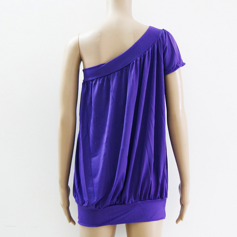 Solid Purple One Shoulder Dress Women Sexy Party Vestidos Summer Drapery O-neck Nightclub Loose Mini Shirt Dresses