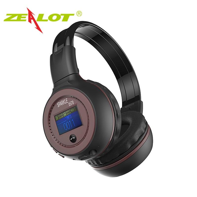 ZEALOT <font><b>B570</b></font> Headset Headphone <font><b>Bluetooth</b></font> Wireless LED Display Handsfree earphone for phone With microphone FM Radio TF Card Play