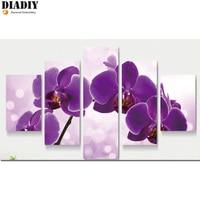 5d Diy Diamond Painting Purple Orchid Cross Stitch Round Diamonds Full 3d Diamond Embroidery 5pcs Set