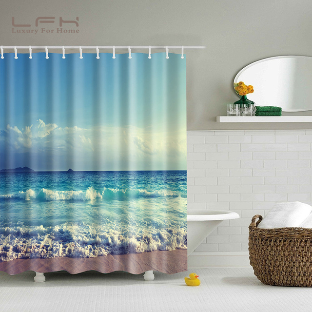 LFH Polyester Fabric Shower Curtain Waterproof Home Bathroom ...