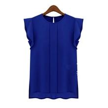 84167b323 OL verano elegante mujer blusa Oficina señora azul sólido verde manga corta  Camisa de gasa volantes